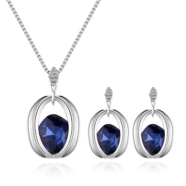 d75c3cbca Women's Necklace Earrings Stylish Solitaire Ladies European Fashion Elegant  Rhinestone Earrings Jewelry Purple / Red / Blue For Daily Evening Party #  ...