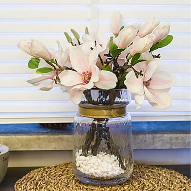 زهور اصطناعية 1 فرع كلاسيكي أوروبي الحديث ماغنوليا أزهار الطاولة