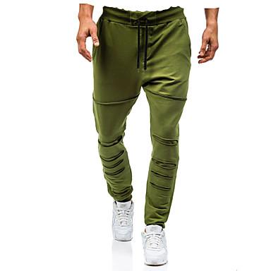 رجالي النمط الصيني قياس كبير مناسب للبس اليومي فضفاض بنطلونات بنطلون - لون سادة قطن رمادي غامق رمادي أخضر داكن XL XXL XXXL