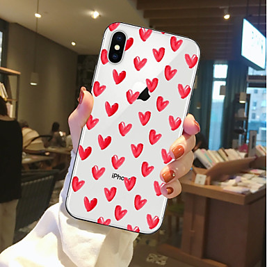 Case Kompatibilitás Apple iPhone X / iPhone 8 Átlátszó / Minta Fekete tok Szív Puha TPU mert iPhone X / iPhone 8 Plus / iPhone 8