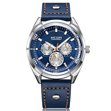 MEGIR Pánské Sportovní hodinky japonština Křemenný Pravá kůže Černá   Modrá  30 m Voděodolné Kalendář Chronograf 828b79f5ce