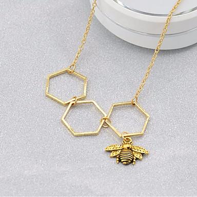 نسائي فراغ خارجي ربط سلسلة قلائد الحلي نحلة عبارة سيدات هندسي جميل كوول ذهبي 44 cm قلادة مجوهرات 1PC من أجل هدية مناسب للعطلات