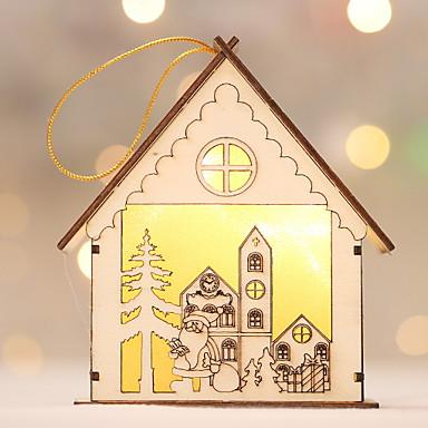 زخرفة عطلة خشبي شكل منزل خشبي زينة عيد الميلاد
