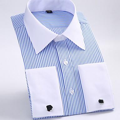 57b9f91df4a levne Pánské košile-Pánské - Proužky Práce Business   Základní Košile  Klasický límeček   Dlouhý