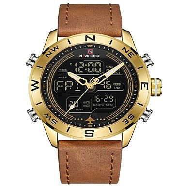 levne Pánské-NAVIFORCE Pánské Sportovní hodinky Vojenské hodinky Digitální hodinky japonština Japonské Quartz Pravá kůže Černá / Modrá / Hnědá 30 m Voděodolné Alarm Kalendář Analogové Digitální Luxus Módní -