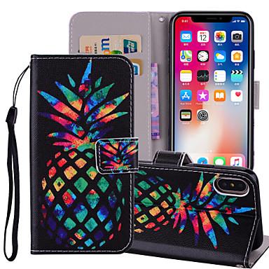 voordelige iPhone 6 Plus hoesjes-hoesje Voor Apple iPhone X / iPhone 8 Plus / iPhone 8 Portemonnee / Kaarthouder / met standaard Volledig hoesje Voedsel / Fruit Hard PU-nahka