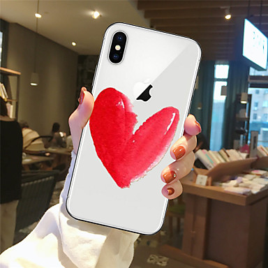 غطاء من أجل Apple iPhone X / iPhone 8 Plus / iPhone 8 شفاف / نموذج غطاء خلفي قلب ناعم TPU