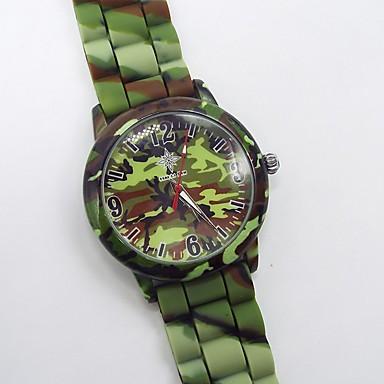 levne Pánské-Pánské Vojenské hodinky Křemenný Silikon Bílá / Zelená Svítící Analogové Barevná - Bílá Zelená