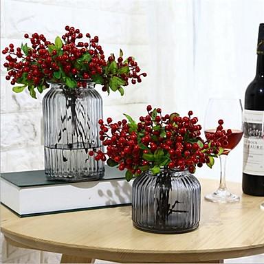 زهور اصطناعية 5 فرع كلاسيكي فردي أنيق النمط الرعوي نباتات فاكهة أزهار الطاولة