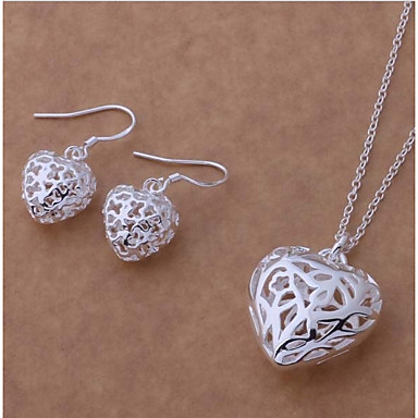 315d84a81 Women's Hollow Out Trace Jewelry Set S925 Sterling Silver Heart Ladies,  Stylish, Sweet,