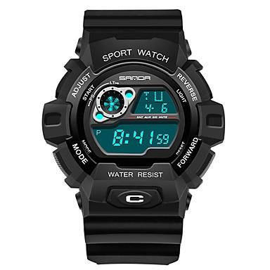 SANDA رجالي ساعة رياضية ساعة رقمية ياباني رقمي أسود 30 m مقاوم للماء رزنامه ساعة التوقف رقمي ترف موضة - أسود وذهبي أسود / أزرق أسود / فضي / قضية
