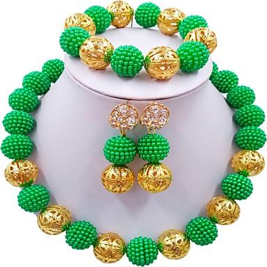 نسائي عقد واحد ستراند الحرفيين MOON سيدات موضة أنيق الأفريقي الأقراط مجوهرات أخضر / زهري / زهر فاقع من أجل زفاف