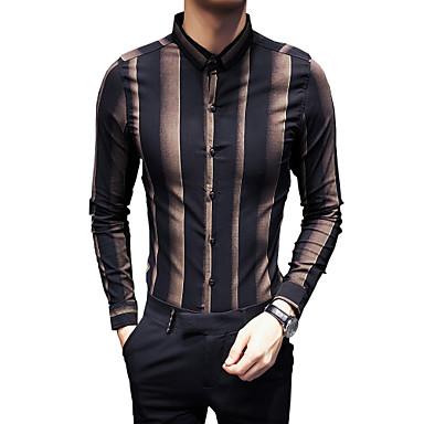 رجالي قميص نحيل ياقة كلاسيكية مخطط / ألوان متناوبة, مناسب للحفلات / نادي / كم طويل / الصيف