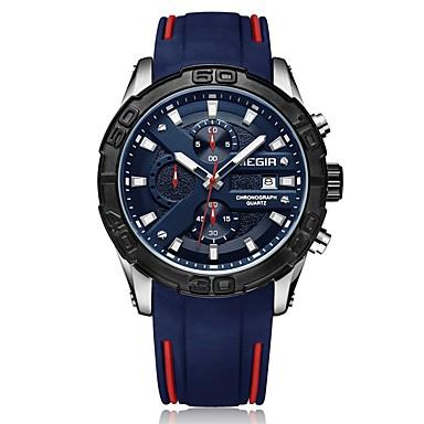 MEGIR رجالي ساعة رياضية ياباني كوارتز سيليكون أسود / أزرق 30 m مقاوم للماء رزنامه الكرونوغراف مماثل موضة - أسود أزرق / قضية