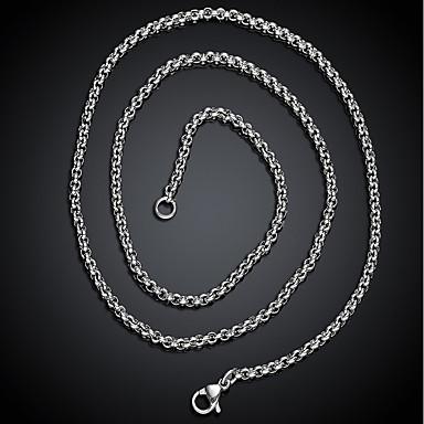 Per uomo Alla moda Collana Acciaio al titanio Creativo Di tendenza Fantastico Argento 60 cm Collana Gioielli 1pc Per Regalo Quotidiano