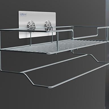 قضيب المنشفة متعدد الطبقات معاصر الفولاذ المقاوم للصدأ / الحديد 1PC مزدوج مثبت على الحائط