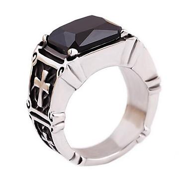 رجالي خاتم خاتم الخاتم ياقوت إصطناعي 1PC أسود الصلب التيتانيوم مستطيل أنيق كلاسيكي مناسب للبس اليومي مجوهرات قديم تنين