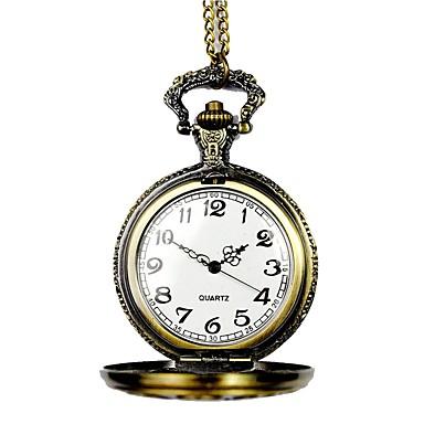 رجالي ساعة جيب كوارتز برونز نقش جوفاء مماثل عتيق هيكل عظمي - برونز