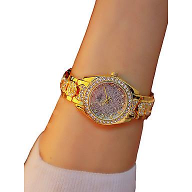 نسائي ساعة المعصم الماس ووتش ساعة ذهبية كوارتز ذهبي الكرونوغراف مضيء ساعة كاجوال مماثل سيدات سوار أنيق - ذهبي / تقليد الماس