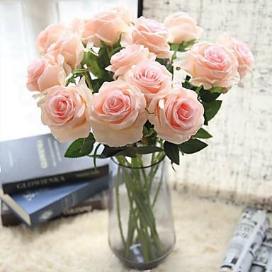 زهور اصطناعية 5 فرع كلاسيكي فردي أنيق Wedding Flowers الورود أزهار الطاولة