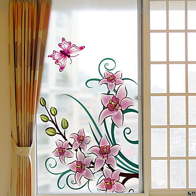 فيلم نافذة وملصقات زخرفة العادي وردة PVC ملصق النافذة