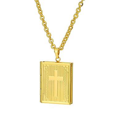 رجالي قلائد الحلي فينتاج 3D مدلاة كلاسيكي عتيق إيمان مطلية بالذهب عيار 18 سبيكة ذهبي فضي 55 cm قلادة مجوهرات 1PC من أجل مناسب للبس اليومي شارع