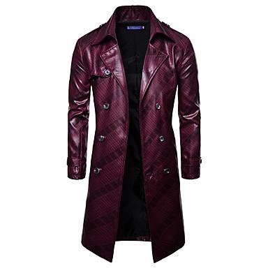 رجالي مناسب للبس اليومي الشتاء / خريف & شتاء طويلة معطف, مخطط قبعة القميص كم طويل PU أزرق البحرية / نبيذ / أزرق البحرية