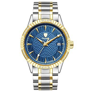 levne Pánské-Tevise Pánské mechanické hodinky japonština Automatické natahování Nerez Stříbro / Zlatá 30 m Voděodolné Kalendář Svítící Analogové Luxus Módní - Zlatá Stříbrná / Modrá / imitace Diamond