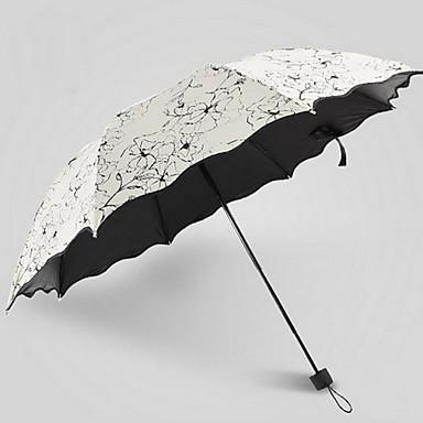 قماش / ستانلس ستيل نسائي مشمس وممطر مظلة ملطية