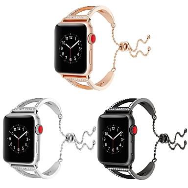 זול רצועות שעון-מתכת אל חלד צפו בנד רצועה ל Apple Watch Series 4/3/2/1 שחור / כסף 23cm / 9 אינץ ' 2.1cm / 0.83 אינצ'ים
