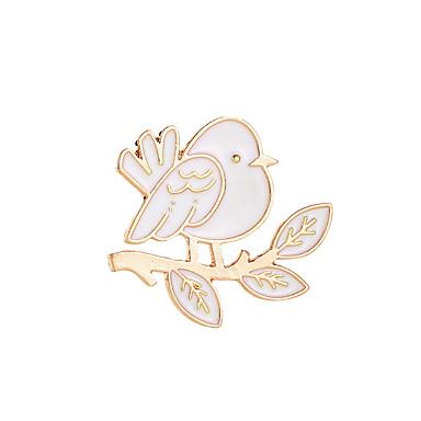 نسائي دبابيس غير متطابقة أشكال النحت عصفور سيدات بسيط حلو بروش مجوهرات ذهب / أبيض من أجل عيد ميلاد مناسب للبس اليومي