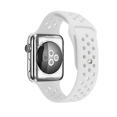זול רצועות שעון-ג'ל סיליקה צפו בנד רצועה ל Apple Watch Series 4/3/2/1 שחור / לבן / כחול 23cm / 9 אינץ ' 2.1cm / 0.83 אינצ'ים