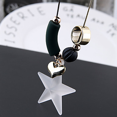billiga Modehalsband-Dam Klassisk Trendig Långt halsband Hjärta Stjärna damer Enkel Europeisk Ljuv Vit 70 cm Halsband Smycken 1st Till Casual Dagligen