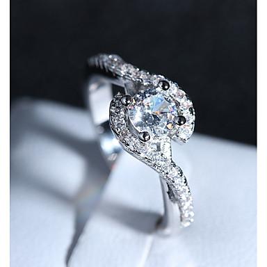 نسائي خاتم 1PC فضي نحاس مطلي بالبلاتينيوم تقليد الماس أربعة، برونغس سيدات رومانسي موضة زفاف رسمي مجوهرات ستايل عبور HALO الحب محبوب