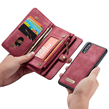 CaseMe غطاء من أجل Huawei P20 Pro / P20 lite محفظة / حامل البطاقات / قلب غطاء كامل للجسم لون سادة قاسي جلد PU إلى Huawei P20 / Huawei P20 Pro / Huawei P20 lite