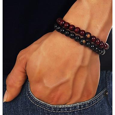 economico Bracciali-Per uomo Braccialetto con perline Retrò Creativo Di tendenza Stoffe orientali di legno Gioielli braccialetto Nero / Marrone Per Quotidiano Compleanno / Legno