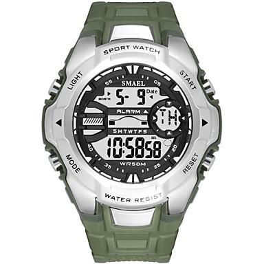 levne Pánské-SMAEL Pánské Sportovní hodinky Digitální hodinky japonština Digitální Silikon Černá / Tmavozelená 50 m Voděodolné Kalendář Svítící Digitální Na běžné nošení Módní - Tmavě zelená Černá / Růžové zlato
