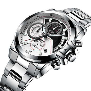 levne Pánské-Pánské Sportovní hodinky Náramkové hodinky japonština Japonské Quartz Nerez Černá / Stříbro 30 m Kalendář Hodinky na běžné nošení Cool Analogové Luxus Módní - Černá Stříbrná Jeden rok Životnost