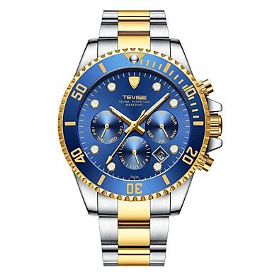 Χαμηλού Κόστους Ανδρικά ρολόγια-Tevise Ανδρικά μηχανικό ρολόι Ιαπωνικά Αυτόματο κούρδισμα Ανοξείδωτο Ατσάλι Ασημί / Χρυσό 30 m Ανθεκτικό στο Νερό Ημερολόγιο Νυχτερινή λάμψη Αναλογικό Πολυτέλεια Μοντέρνα - Πράσινο Μπλε