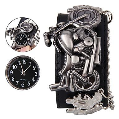 رجالي ساعة المعصم رقمي جلد طبيعي أسود ساعة كاجوال كوول مماثل جمجمة موضة - أسود