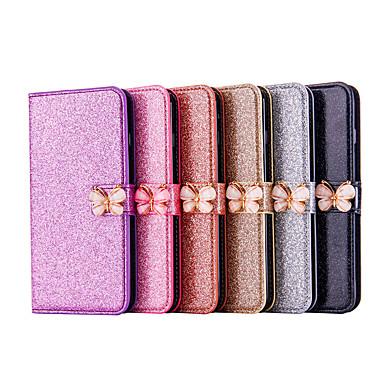 غطاء من أجل Samsung Galaxy Note 9 / Note 8 محفظة / حامل البطاقات / مع حامل غطاء كامل للجسم لون سادة / فراشة / بريق لماع قاسي جلد PU