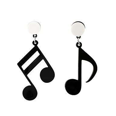 ieftine Cercei-Pentru femei Cercei Picătură mismatched Muzică Notă Muzicală femei Artistic Corean Modă cercei Bijuterii Negru Pentru Casual 1 Pair