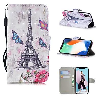 voordelige iPhone 7 hoesjes-hoesje Voor Apple iPhone XS / iPhone XR / iPhone XS Max Patroon Volledig hoesje Landschap / Eiffeltoren Hard PU-nahka