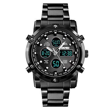 Недорогие Часы на металлическом ремешке-SKMEI Муж. Для пары Спортивные часы Нарядные часы Кварцевый Нержавеющая сталь Черный / Серебристый металл 30 m Защита от влаги С тремя часовыми поясами Cool Аналоговый Роскошь Классика Мода -