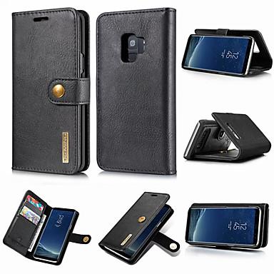 Недорогие Чехлы и кейсы для Galaxy S-Кейс для Назначение SSamsung Galaxy S9 / S9 Plus / S8 Plus Кошелек / Бумажник для карт / со стендом Чехол Однотонный Твердый Настоящая кожа