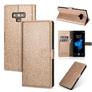 غطاء من أجل Samsung Galaxy Note 9 / Note 8 محفظة / حامل البطاقات / مع حامل غطاء كامل للجسم لون سادة / بريق لماع قاسي جلد PU