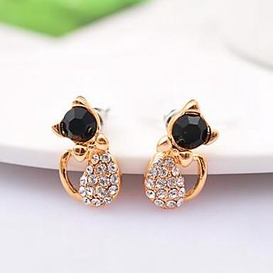 9b91d26b0 Women's Stud Earrings 3D Cat Ladies Stylish Simple Rhinestone Earrings  Jewelry Gold For Daily 1 Pair #06943750