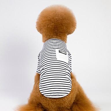 كلاب قطط المعاطف ملابس الكلاب مخطط أبيض زهري نسيج القطن كوستيوم من أجل كلب البج Bichon فرايز أفطس كل الفصول للجنسين ستايل رياضي كاجوال / يومي