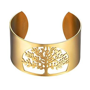 نسائي أساور فراغ خارجي شجرة الحياة سيدات موضة الفولاذ المقاوم للصدأ مجوهرات سوار ذهبي / أسود / فضي من أجل هدية مناسب للبس اليومي