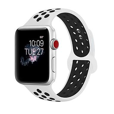 זול רצועות שעון-ג'ל סיליקה צפו בנד רצועה ל Apple Watch Series 4/3/2/1 שחור / לבן 23cm / 9 אינץ ' 2.1cm / 0.83 אינצ'ים